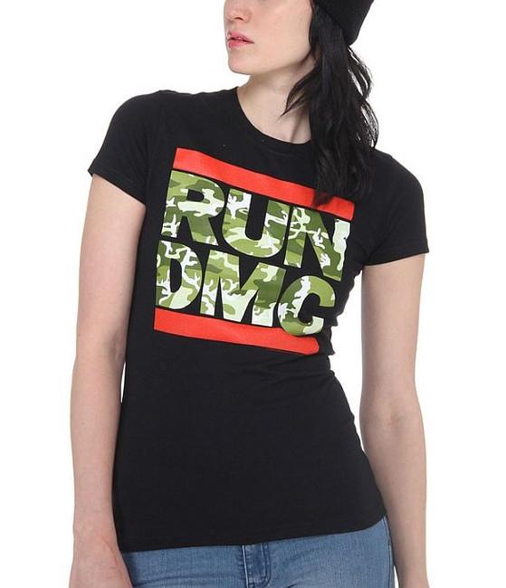 Run DMC Camo Logo Junior Women's T-Shirt
