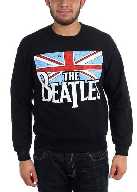 The Beatles Distressed British Flag Crewneck Sweatshirt