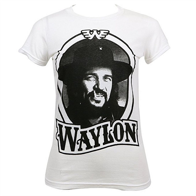 Waylon Jennings 79 Tour Junior Women's White T-Shirt