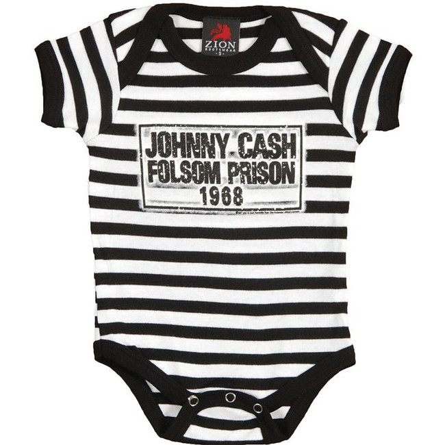 Johnny Cash Folsom Stripes Baby Romper Creeper T-Shirt