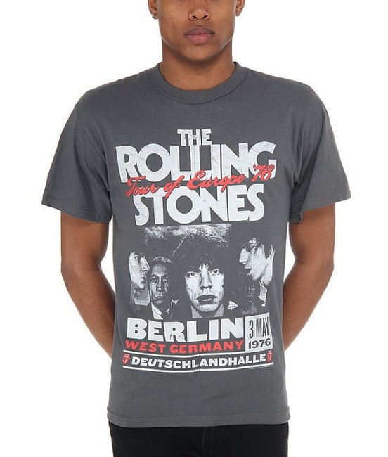 Rolling Stones Europe 76 Charcoal T-Shirt
