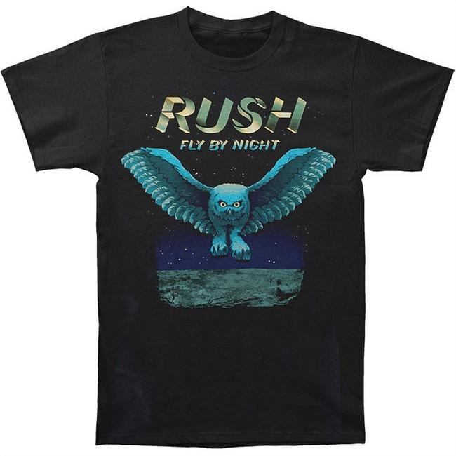 Rush Fly By Night Owl Men's Black T-Shirt