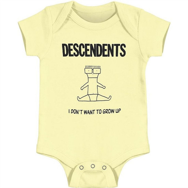 Descendents I Don't Want To Grow Up Yellow Baby Romper T-Shirt