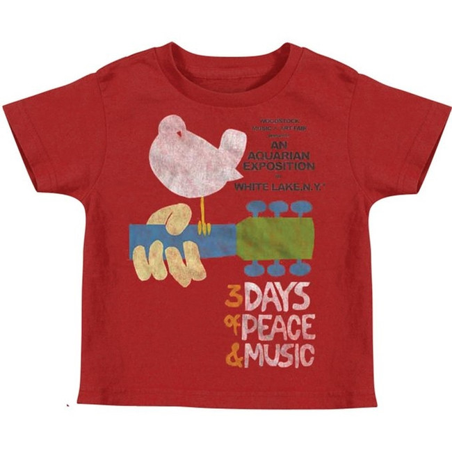 Woodstock Peace and Music Red Toddler T-Shirt