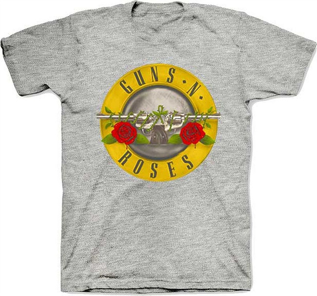 Guns N Roses Bullet Logo on Heather T-Shirt