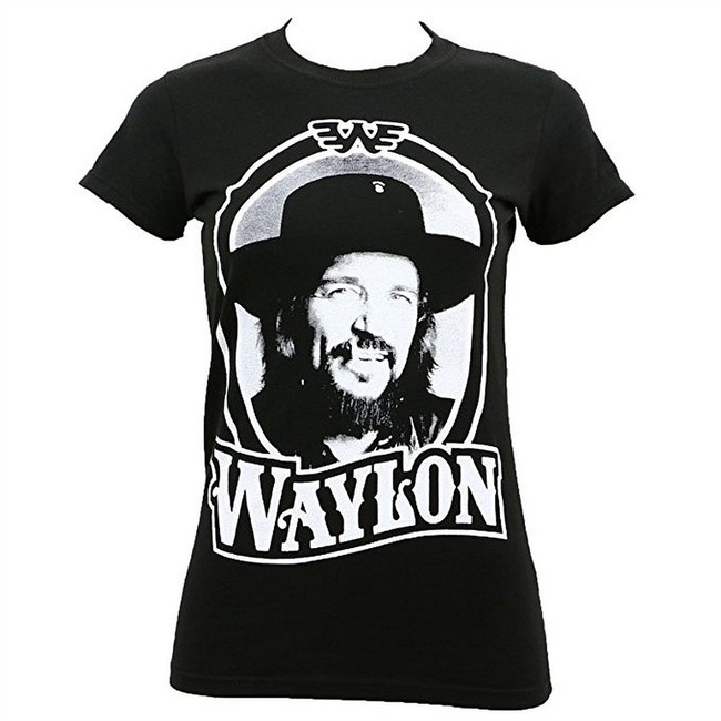 Waylon Jennings 79 Tour Junior Women's Black T-Shirt
