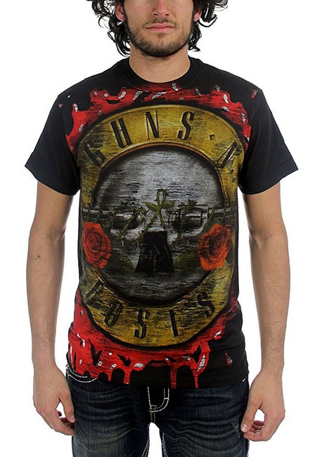 Guns N Roses Jumbo Bloody Bullet Men's Black T-Shirt