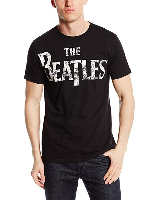The Beatles Distressed Logo Black T-Shirt