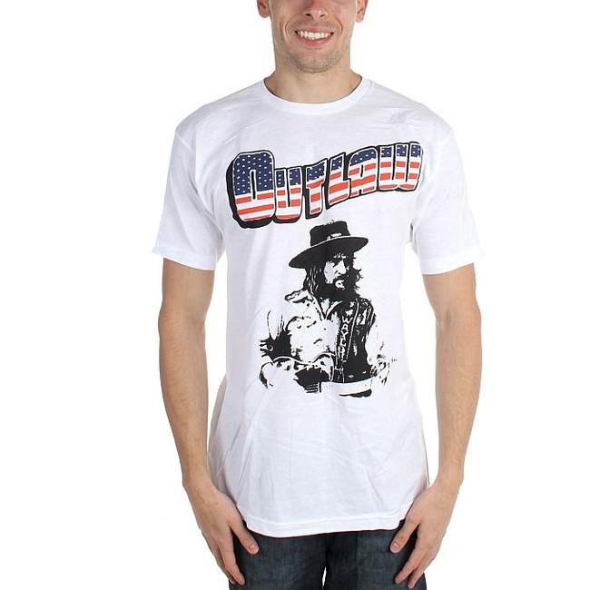 Waylon Jennings Outlaw White T-Shirt