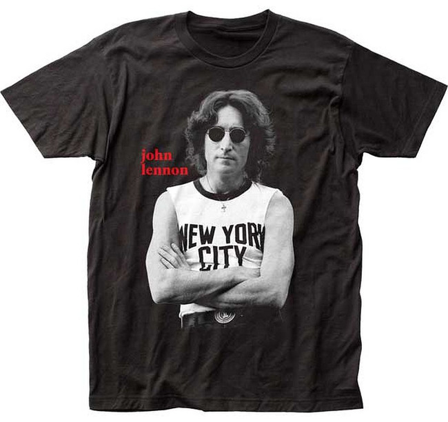John Lennon NYC Black and White Fitted Men's T-Shirt