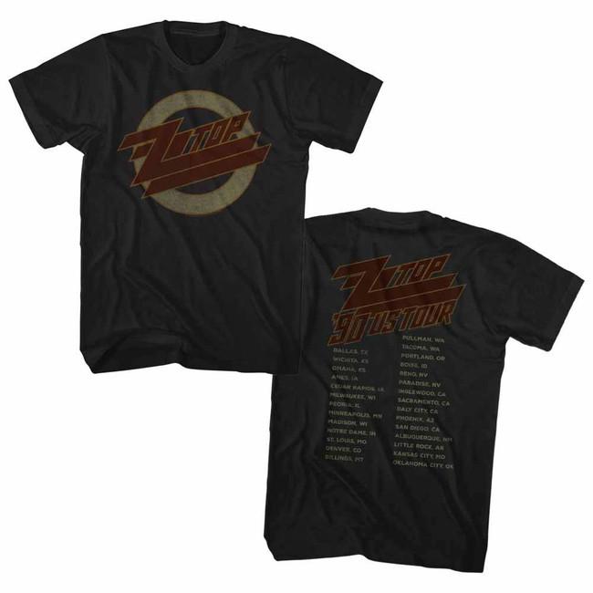 ZZ Top 1990 Us Tour Black Adult T-Shirt