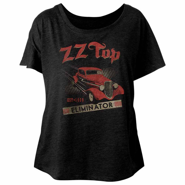 ZZ Top Est 1969-Vintage Black Ladies Dolman T-Shirt