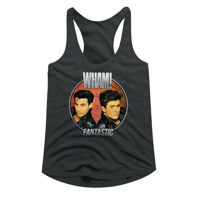 Wham Fantastic Circle Dark Gray Heather Junior Women's Racerback Tank Top