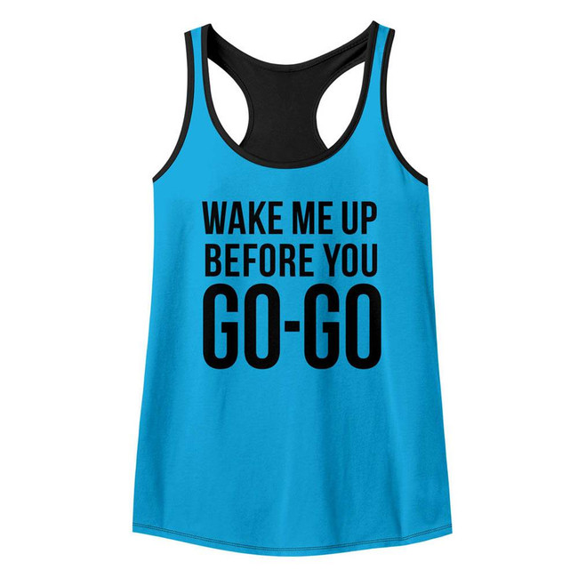 Wham Go Go Turquoise/Black Junior Women's Color Block Racerback Tank Top