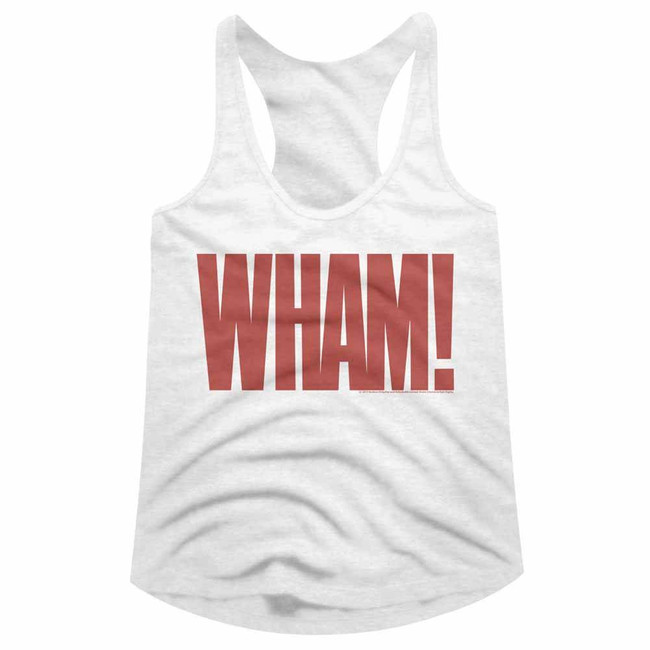 Wham Wham White Junior Women's Racerback Tank Top