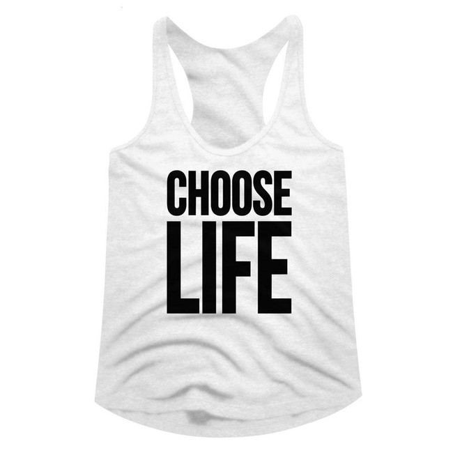 Wham Choose Life White Junior Women's Racerback Tank Top