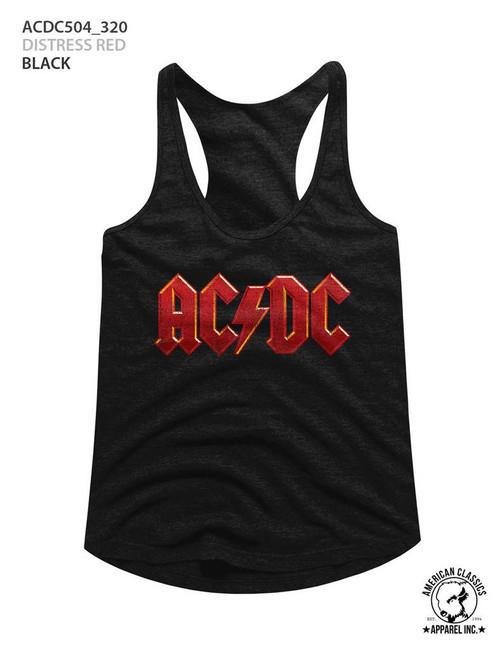 AC/DC Distressed Red Black Junior Women's Racerback Tank Top T-Shirt
