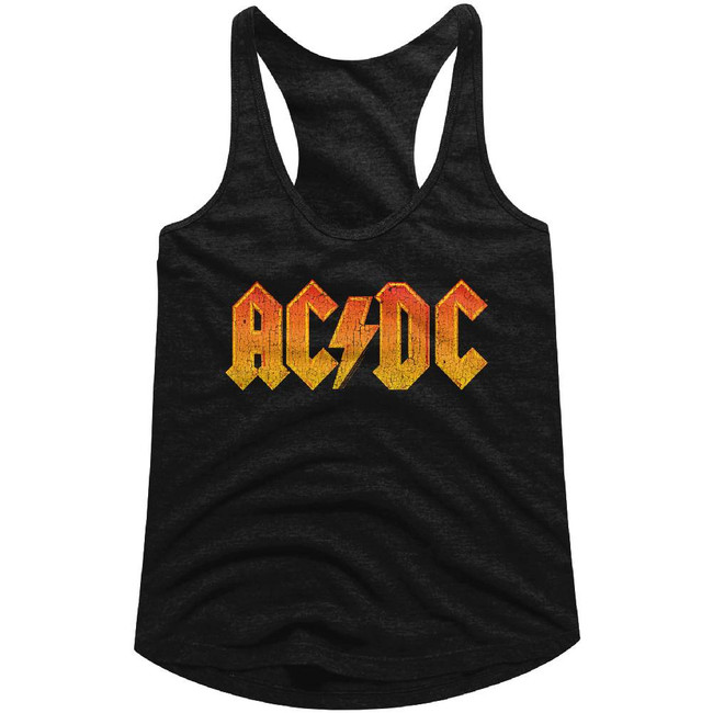 AC/DC Distressed Orange Black Junior Women's Racerback Tank Top T-Shirt