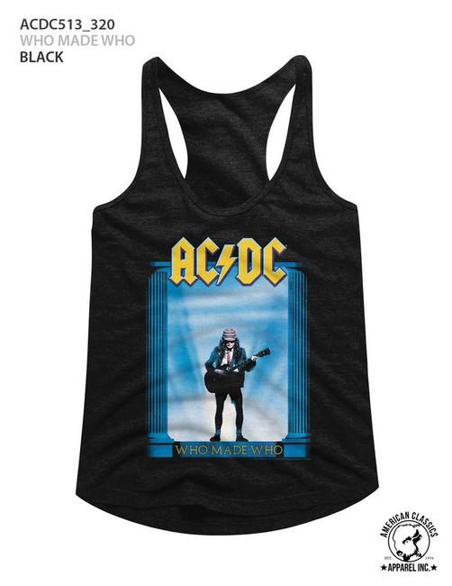 AC/DC Who Made Who Black Junior Women's Racerback Tank Top T-Shirt