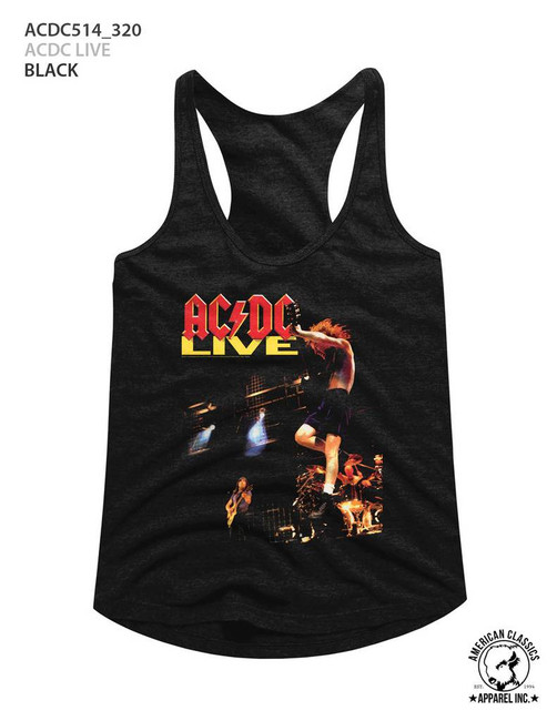 AC/DC Live Black Junior Women's Racerback Tank Top T-Shirt