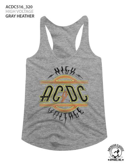 AC/DC High Voltage Gray Heather Junior Women's Racerback Tank Top T-Shirt