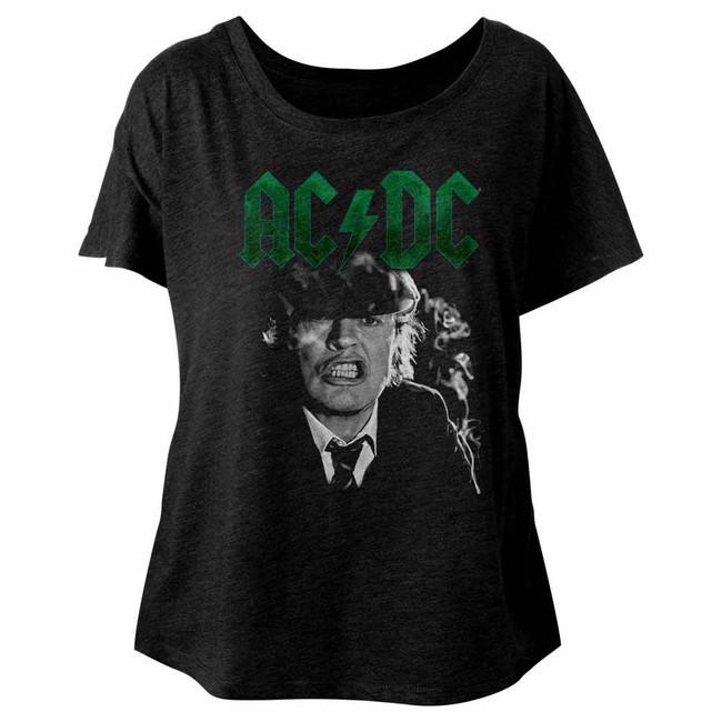 AC/DC Angus Growl Vintage Black Ladies Dolman T-Shirt