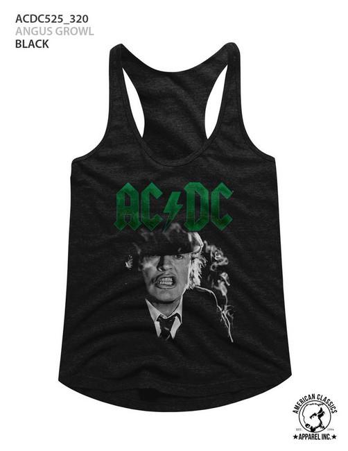 AC/DC Angus Growl Black Junior Women's Racerback Tank Top T-Shirt