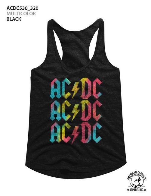 AC/DC Multicolor Black Junior Women's Racerback Tank Top T-Shirt