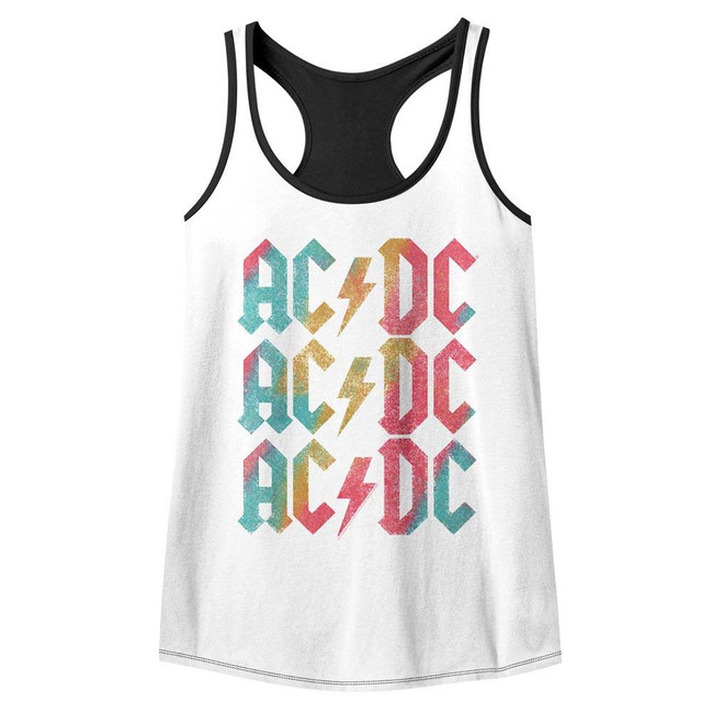 AC/DC Back In Color Junior Women's Color Block Racerback Tank Top T-Shirt