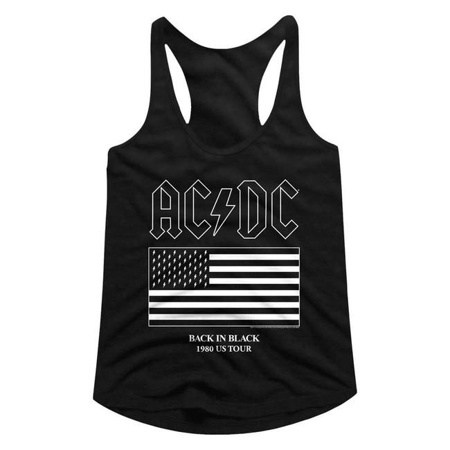 AC/DC US Tour Flag Black Junior Women's Racerback Tank Top T-Shirt