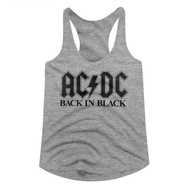 AC/DC Back In Black Heather Junior Women's Racerback Tank Top T-Shirt