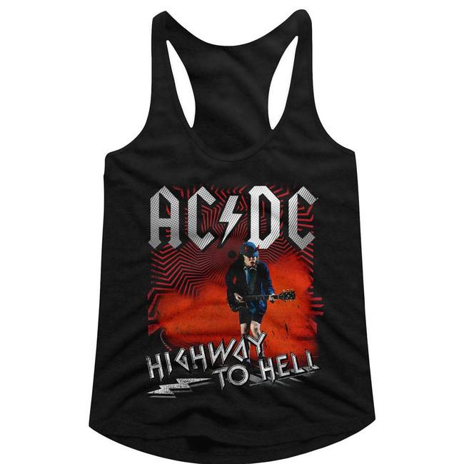 AC/DC Highway To Hell Black Junior Women's Racerback Tank Top T-Shirt