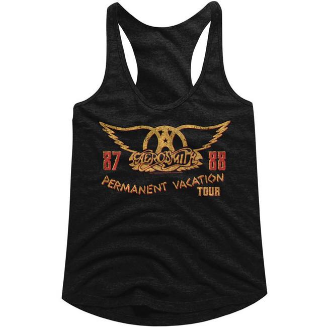 Aerosmith Permanent Vacation Tour 87-88 Black Junior Women's Racerback Tank Top T-Shirt