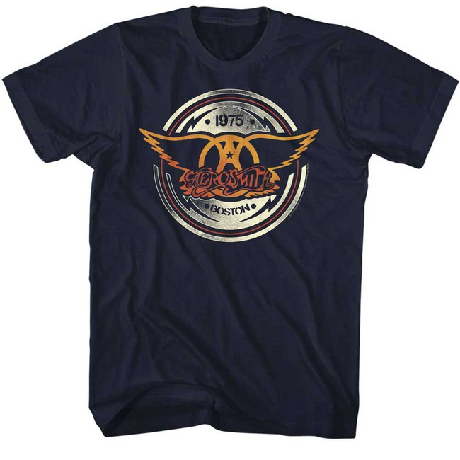 Aerosmith Aerocircle Navy Adult T-Shirt
