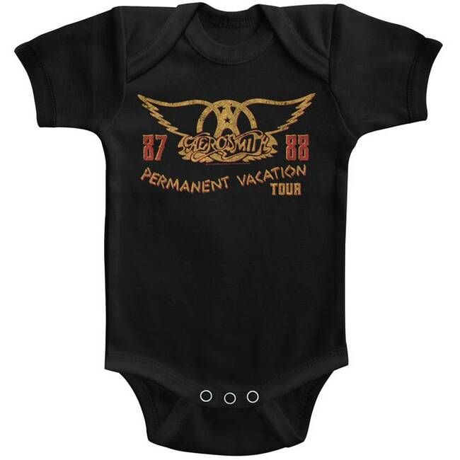 Aerosmith Permanent Vacation Tour Black Infant Baby Onesie T-Shirt