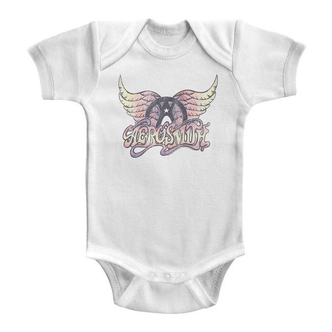Aerosmith Faded Pinks White Infant Baby Onesie T-Shirt
