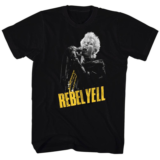 Billy Idol Rebel Yellow Black Adult T-Shirt