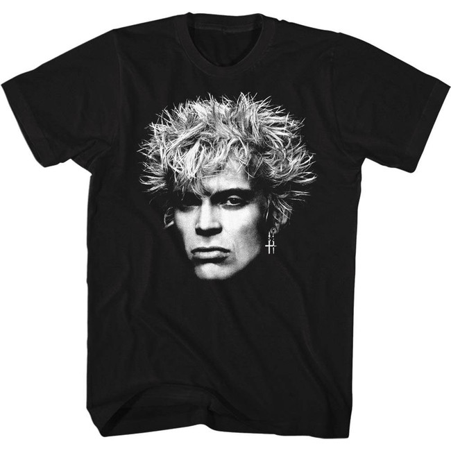 Billy Idol Bighead Black Adult T-Shirt