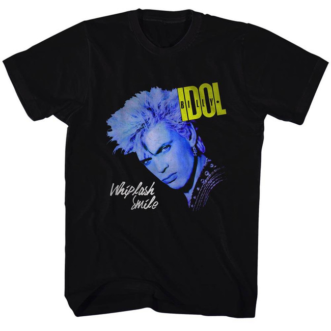 Billy Idol Black Whiplash Smile Black Adult T-Shirt