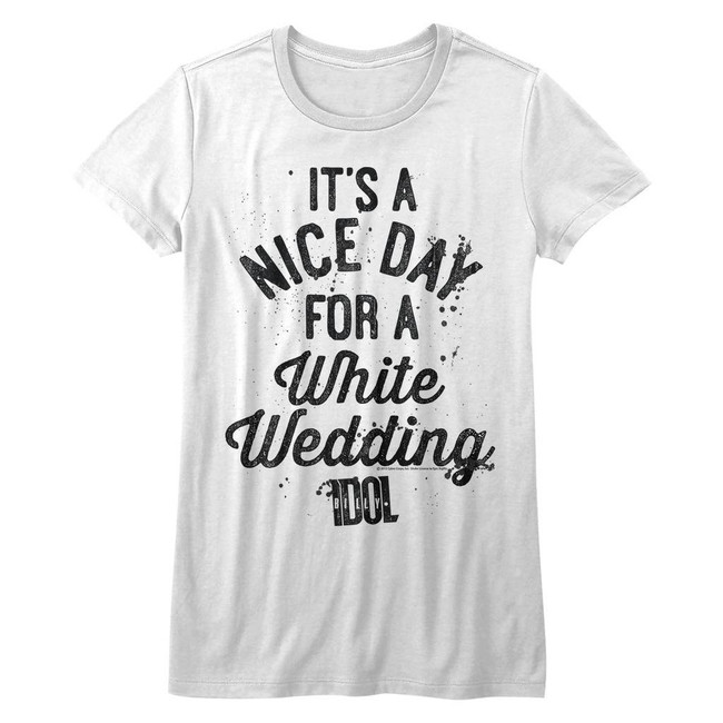 Billy Idol Nice Day White Junior Women's T-Shirt
