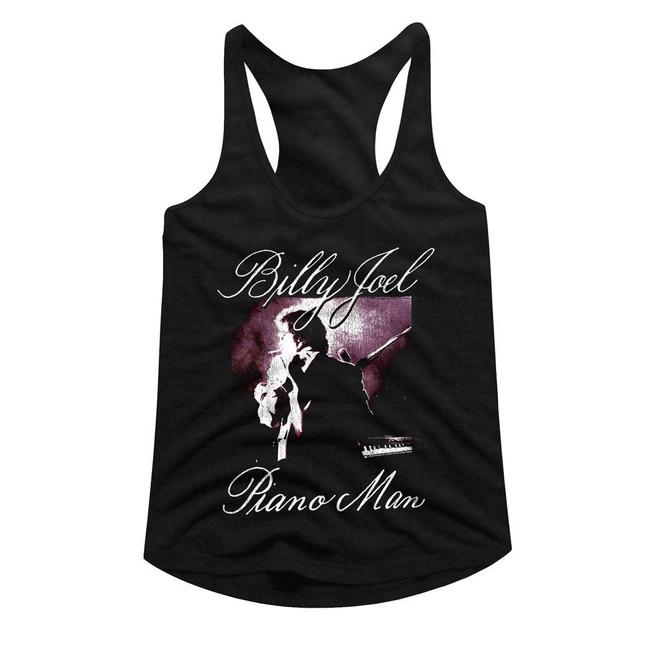 Billy Joel Piano Man Black Junior Women's Racerback Tank Top T-Shirt