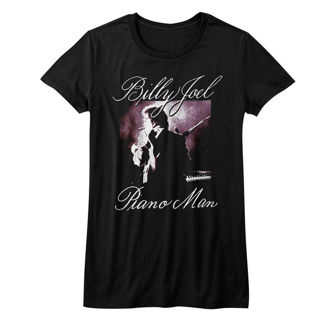 Billy Joel Piano Man Black Junior Women's T-Shirt