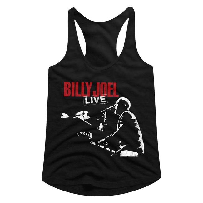 Billy Joel '81 Tour Black Junior Women's Racerback Tank Top T-Shirt