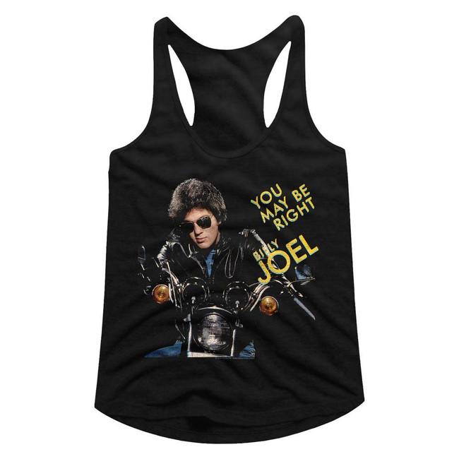 Billy Joel You May Be Right Black Junior Women's Racerback Tank Top T-Shirt