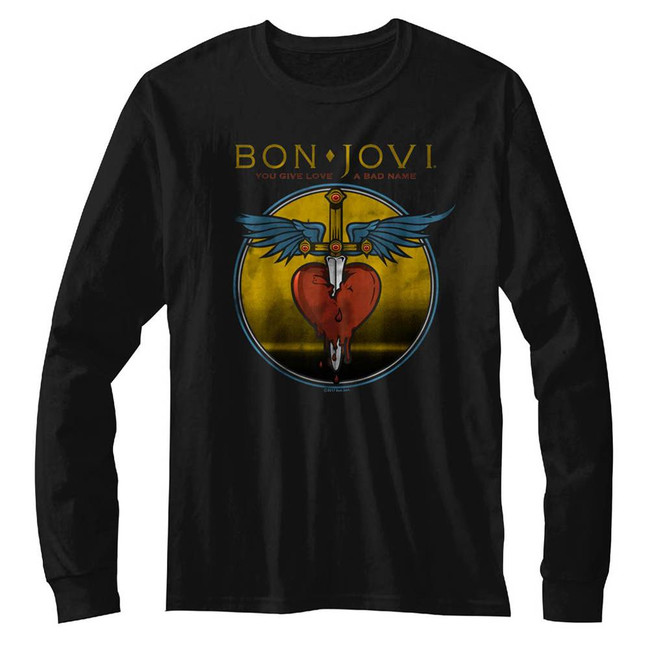 Bon Jovi Bad Name Dagger Black Adult Long Sleeve T-Shirt