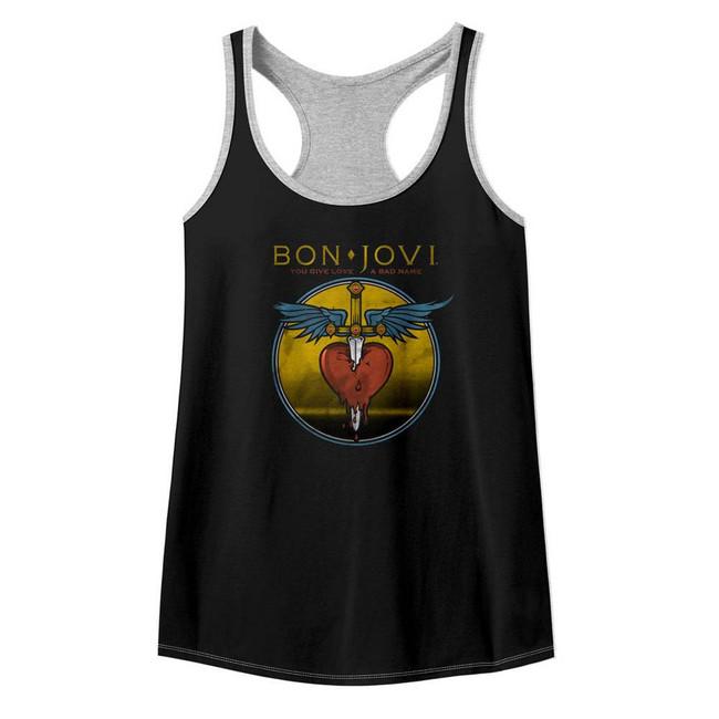 Bon Jovi Bad Name Black/Heather Junior Women's Colorblock Racerback Tank Top T-Shirt