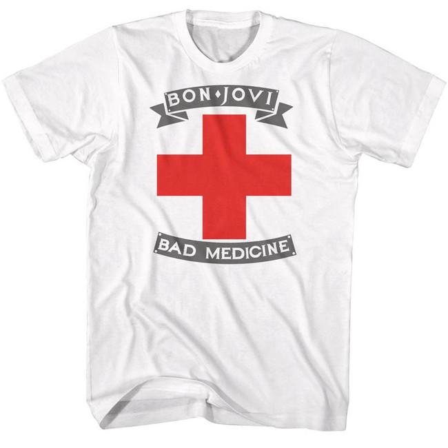Bon Jovi Bad Medicine White Adult T-Shirt