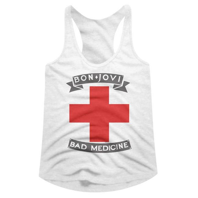 Bon Jovi Bad Medicine White Junior Women's Racerback Tank Top T-Shirt