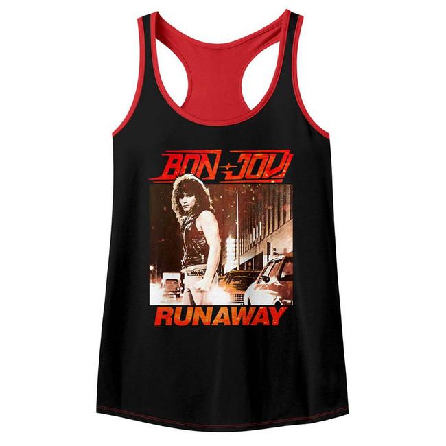 Bon Jovi Runaway Black/Red Junior Women's Colorblock Racerback Tank Top T-Shirt