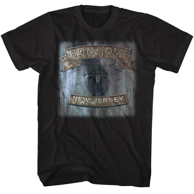 Bon Jovi New Jersey Black Adult T-Shirt
